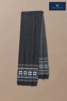 Crew Clothing Grey Fairisle Pattern Scarf