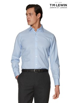 T.M. Lewin Non Iron Blue Gingham Slim Fit Shirt