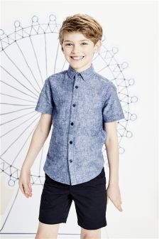 Linen Mix Short Sleeve Shirt (3-16yrs)