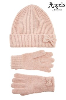 Angels by Accessorize Pink Opp Hat And Gloves Set