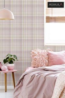 Arthouse Pink Twilled Plaid Wallpaper