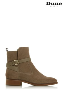 Dune London Patrizo Taupe Suede Buckle Strap Ankle Boots