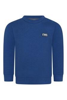 Baby Boys Blue Cotton Logo Sweater
