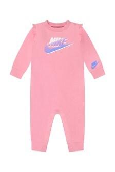 Baby Girls Pink Cotton Frills Logo Romper