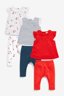 6 Pack Scandi Tops And Leggings Set (0mths-2yrs)