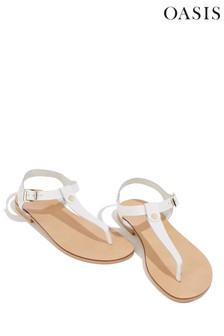 Oasis White Leather Toe Post Sandal