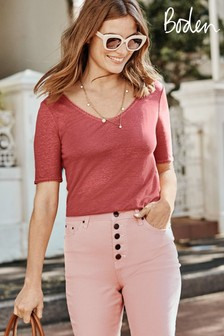 Boden Red Serena Scallop Trim Linen T-Shirt