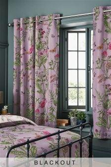 Затемняющие шторы с цветочным рисунком, подкладкой и люверсами