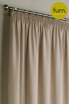 Furn Cream Harrison Herringbone Pencil Pleat Curtains