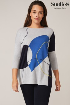 Studio 8 Multi Francis Intarsia Knit Top
