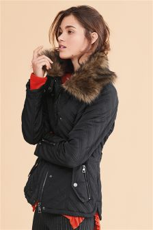 Faux Fur Neck Quilt Jacket