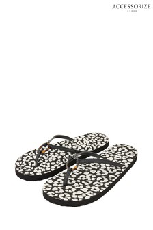 Accessorize Leopard Animal Print Metal Detail Eva Flip Flops