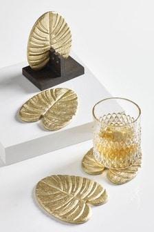 Set of 4 Metallic Leaf Coasters