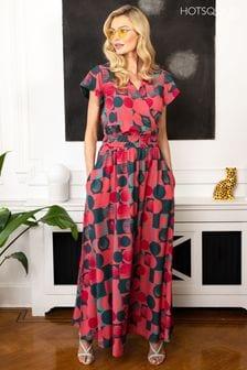 HotSquash Pink Chiffon Wrap Top Maxi Dress