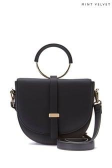 Mint Velvet Black Lianna Ring Saddle Bag