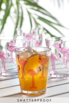 Set of 4 Shatterproof Flamingo Tumblers