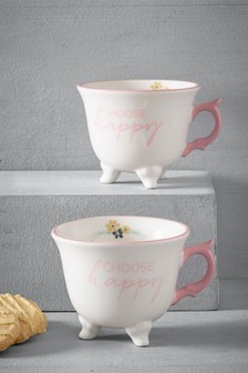 Set of 2 Choose Happy Footed Mugs
