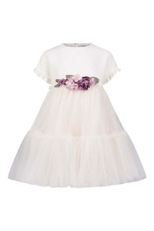 Girls Beige Tulle Rose Dress