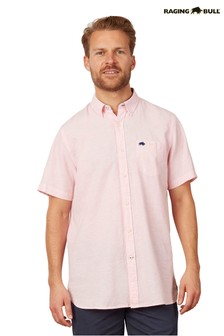 Raging Bull Pink Short Sleeve Signature Linen Shirt