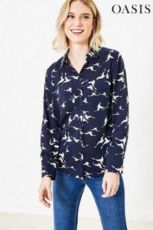 Oasis Blue Shadow Bird Print Shirt