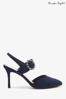 Phase Eight Blue Joss Jeweled Buckle Court Shoes
