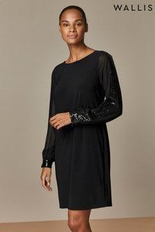 Wallis Black Sequin Swing Dress