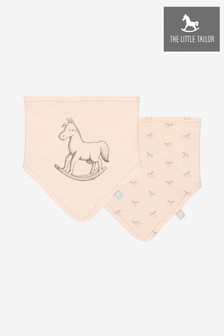 The Little Tailor Pink Rocking Horse Jersey Bibs Two Pack