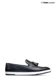 Base London® Blue Pogo Burnished Slip-On Loafers