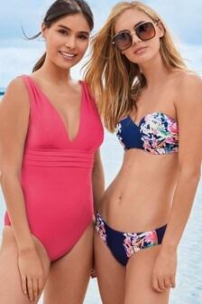 Placement Print Bandeau Bikini Top