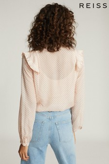 Reiss Camel Taylor Ruffle Detailed Blouse