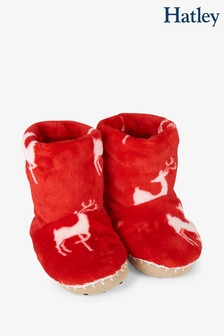Hatley Red Mistletoe Deer Fleece Slippers