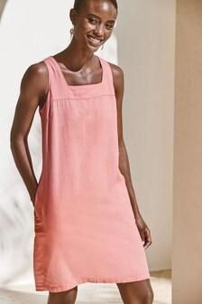 Linen Blend Square Neck Dress