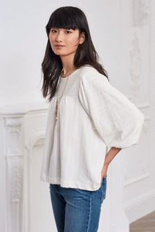 Volume Sleeve Jacquard Top