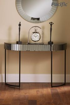 Pacific Lifestyle Smoked Grey Mirrored Glass Metal Console Table