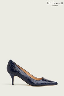 L.K.Bennett Navy Franny Piping Pointed Court Shoes