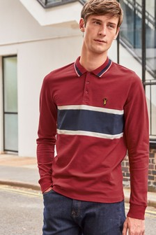 Long Sleeve Chest Block Slim Fit Polo
