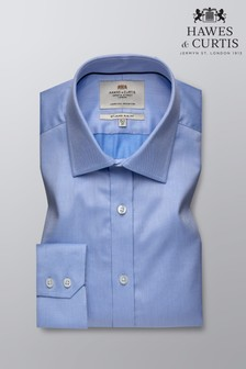 Hawes & Curtis Blue Slim Fit Pique Single Cuff Shirt