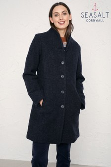 Seasalt Blue Dark Night Melange Downas Cove Coat