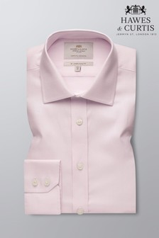 Hawes & Curtis Pink Slim Fit Fabric Interest Single Cuff Shirt