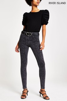 River Island Grey Print Molly Python Jeans