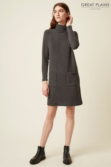 Great Plains Grey Kitten Soft High Neck Dress