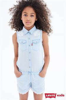 Levi's® Light Denim Playsuit With Lace Trim
