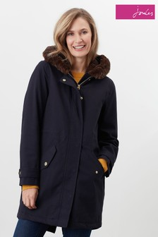 Joules Piper Parka Jacket With Faux Fur Trimmed Hood