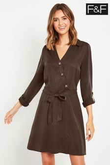 F&F Chocolate Zoe Long Sleeve Dress