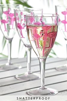 Flamingo Shatterproof Set of 4 Wine Glasses