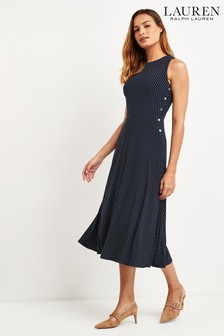 Lauren Ralph Lauren® Navy Polka Dot Felia Midi Dress
