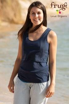 Frugi GOTS Organic Indigo Maternity To Breastfeeding Vest