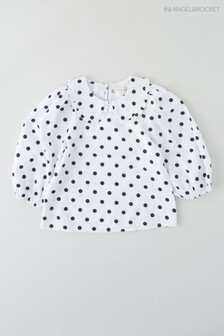 Angel & Rocket White Spotted Puff Sleeve Blouse