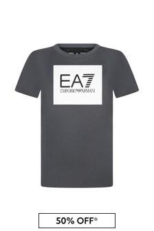 EA7 Emporio Armani Boys Grey Cotton T-Shirt