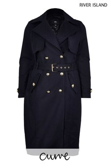 River Island Plus Navy Quilted Trench Coat